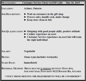 customer service clerk