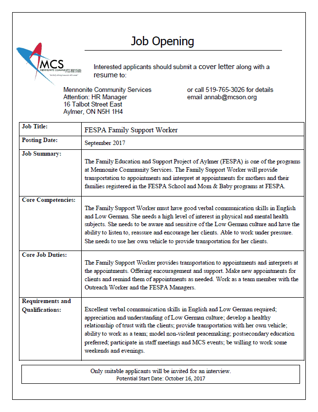 Community support worker cover letter for Cover letter for community support worker position