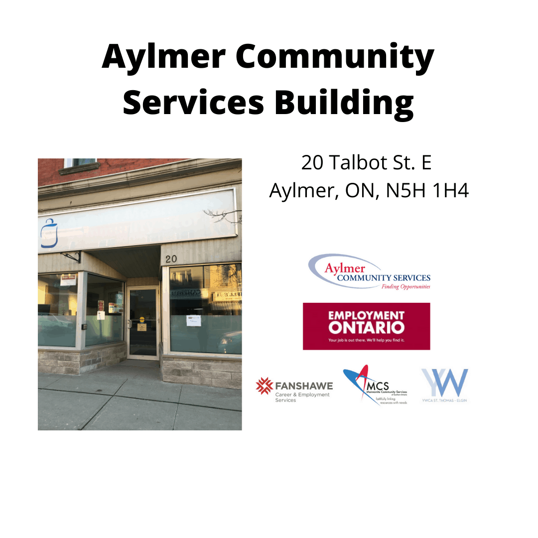 Picture of Aylmer Community Services building and logos